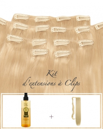 Kit d'extensions de cheveux naturels à Clips - Exclusive
